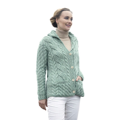 Carraig Donn 100% Super Soft Merino Wool Knitted Women Cardigan with Pockets and Button- Light Green- L size