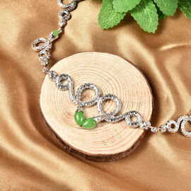Rachel Galley Venom (Snakes) Collection - Green Jade Necklace (Size 20 with 4 inch Extender) in Rhodium Overlay Sterling Silver 5.51 Ct, Silver wt 31.00 Gms