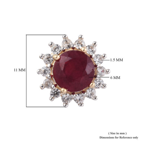 9K Yellow Gold AAA African Ruby (Rnd), Natural Cambodian Zircon Halo Stud Earrings (with Push Back) 3.250 Ct.