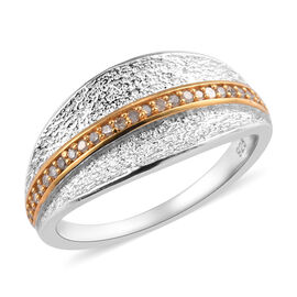 White Diamond Cluster Ring in Platinum and Yellow Gold Overlay Sterling Silver 0.15 Ct.