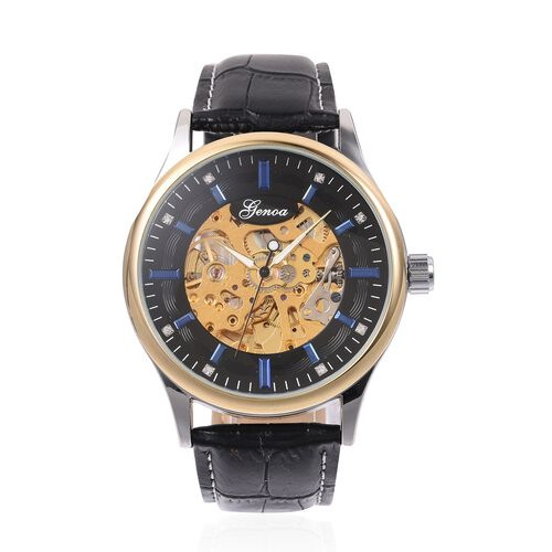 GENOA  Automatic White Crystal Studded Skeleton Water Resistant Watch with Black Leather Strap