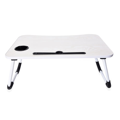 Multi-Function Folding Table with Cup and Tablet Holder (Size 60x37x27 Cm) - Cream White