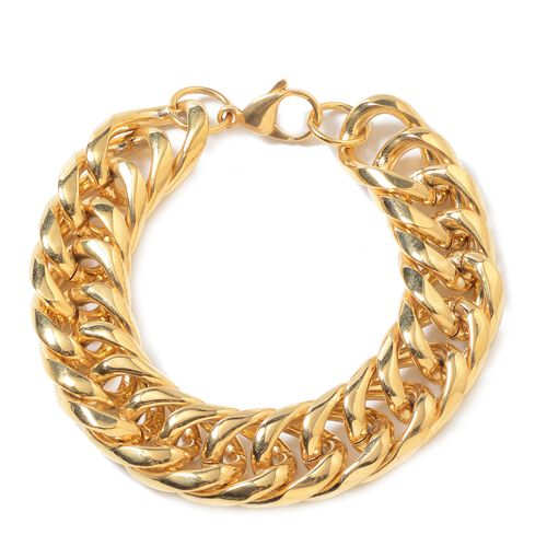 Stainless Steel Curb Link Bracelet (Size 8.5) in Gold Tone
