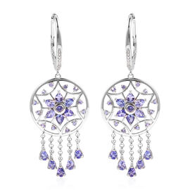 LUCY Q 5.57 Ct Tanzanite and White Zircon Drop Earrings in Rhodium Plated Sterling Silver 9.5 Grams