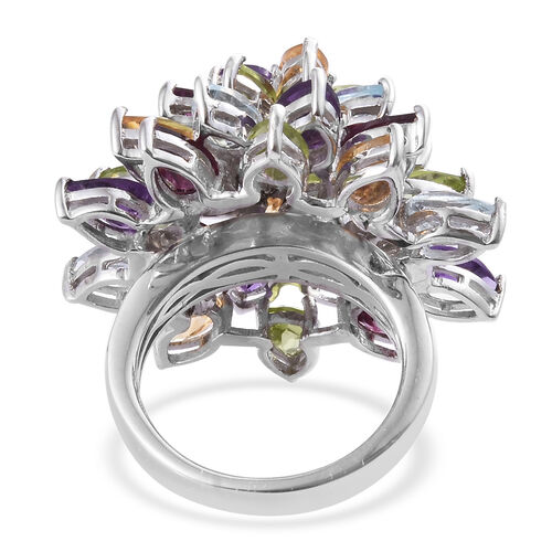 Rhodolite Garnet (Pear), Hebei Peridot and Multi Gemstone Cluster Ring in Platinum Overlay Sterling Silver 12.00 Ct, Silver wt 9.22 Gms