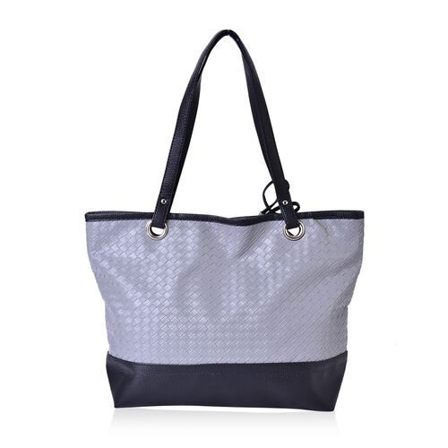 Set of 2 - Grey and Black Colour Net Pattern Handbag (Size 42x33x30x11.5 Cm) and Pouch (Size 15x12 Cm)