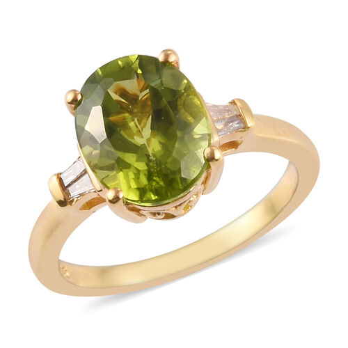 3 Carat AA Hebei Peridot and Diamond Solitaire Ring in Gold Plated Sterling Silver