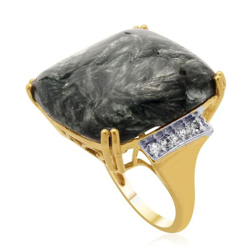 Siberian Seraphinite (Cush 17.00 Ct) White Topaz and Diamond Ring in 14K Gold Overlay Sterling Silver  17.250 Ct.
