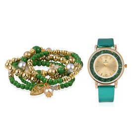 STRADA Watch with Green Colour Strap and Beads Stretchable Bracelet Set