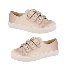 Canvas Pearls Studded Trainer - Pink