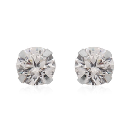 New York Close Out Deal- 9K White Gold Cubic Zirconia (Rnd) Stud Earrings (with Push Back)