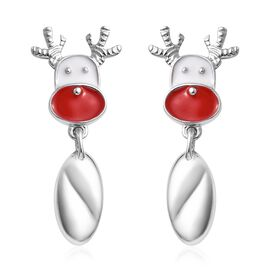 Platinum Overlay Sterling Silver Enamelled Reindeer Head Earrings