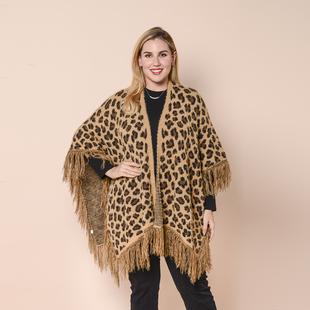 LA MAREY Leopard Print Kimono with Full Tassel in Brown