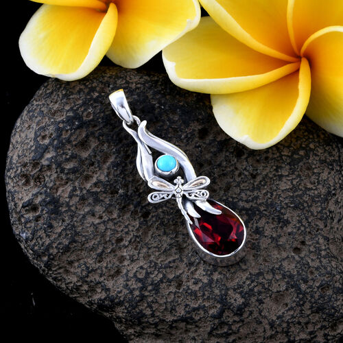 Royal Bali Collection Blazing Red Triplet Quartz (Pear), Arizona Sleeping Beauty Turquoise Pendant in 18K Yellow Gold 925 Silver 6.290 Ct.