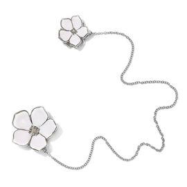 Diamond Floral Enamelled Brooch Platinum Plated