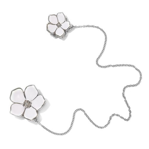 Diamond Floral Enamelled Brooch in Silver Tone