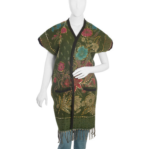 Hand Embroidered Adda Work - Floral Pattern Dark Green and Multi Colour Lily Kimono (One Size)