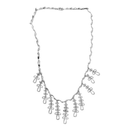 LucyQ Rhodium Overlay Sterling Silver Necklace (Size 20) 46.40 Grams