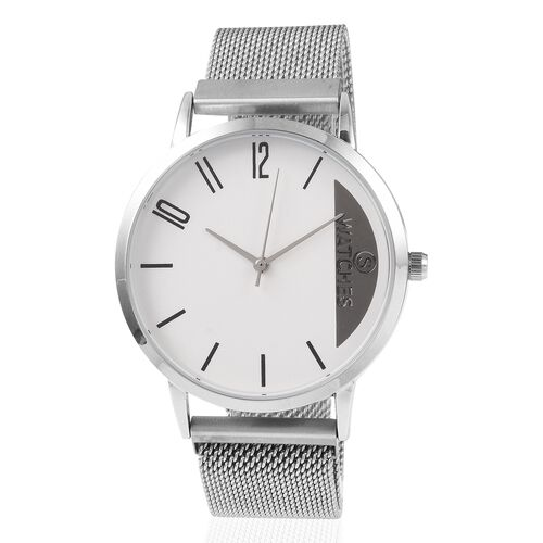 STRADA Japanese Movement Water Resistant Watch with Mesh Chain Adjustable Strap (Size: 6 to 9) - Sil
