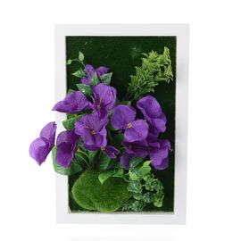 Home Decor - Wall Hanging Artificial Narcissus Flower Frame (Size 29.5x19 Cm) - Colour Purple,Green