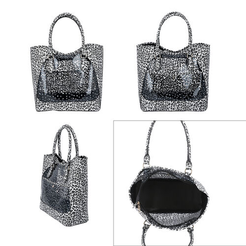 2 Piece Set - Leopard Skin Pattern Tote Bag (Size 38x32x13 cm) with Zipper Closure and Pouch Bag (Size 23x8x18cm) - White and Black