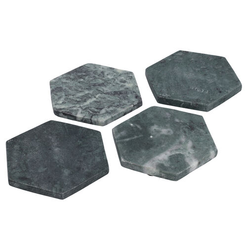 Set of 4 - Hexagon Shaped Marble Coasters (Size 10x10cm) - Green