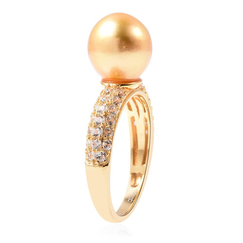 Golden South Sea Pearl and Natural Cambodian Zircon Ring in Yellow Gold Overlay Sterling Silver