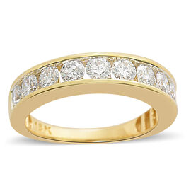 ILIANA 18K Yellow Gold IGI Certified (SI/G-H) Diamond (Rnd) Half Eternity Band Ring 1.500 Ct.