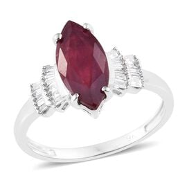 9K White Gold African Ruby (Mrq), Diamond Ring 2.25 Ct.