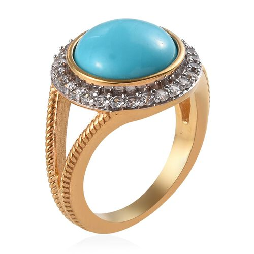 Arizona Sleeping Beauty Turquoise (Rnd 11mm), Natural Cambodian Zircon Ring in White and Yellow Gold Overlay Sterling Silver 4.40 Ct.