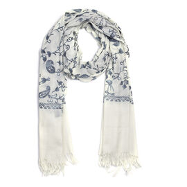 100% Merino Wool Embroidery Ivory Colour Scarf (Size 200x70 Cm)