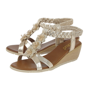Lotus Aiana Wedge Sandals (Size 3) - Gold