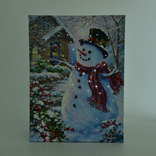 Snowman Pattern Wall Art with LED Light (Size 40X30 Cm)