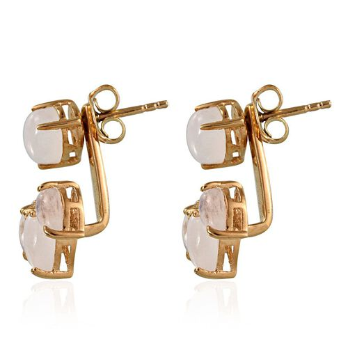 Natural Rainbow Moonstone (Pear) Jacket Earrings in 14K Gold Overlay Sterling Silver 5.750 Ct.