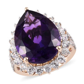9K Yellow Gold AAA Zambian Amethyst (Pear 20x15 mm), Natural Cambodian Zircon Ring 18.750 Ct.