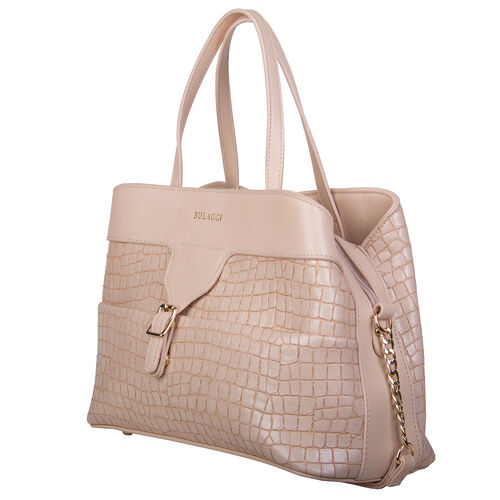 Bulaggi Collection - GINGER Crocodile Skin Textured Handbag with Buckle and Shoulder Starp (31x22x14cm) - Soft Pink Colour