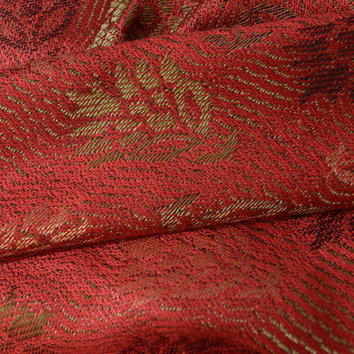 SILK MARK - 100% Superfine Silk Coral Colour Jacquard Jamawar Scarf with Fringes (Size 180x70 Cm) (Weight 125-140 Grams)