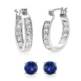 2 Pair Set - J Francis Crystal from Swarovski White Colour Crystal (Rnd), Swarovski Sapphire Colour