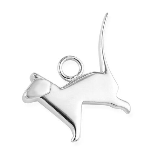 Origami Cat Silver Charm in Platinum Plated 925 Sterling Silver 3.50 grams