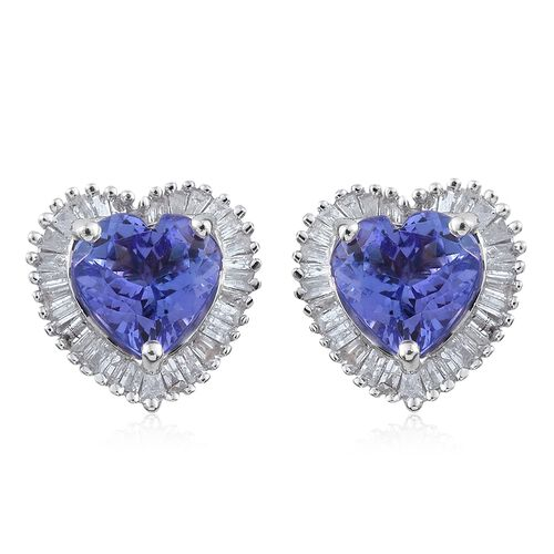 Designer Inspired- 9K White Gold Tanzanite (Hrt), Diamond ( G to H ) Stud Earrings (with Push Back) 2.750 Ct.