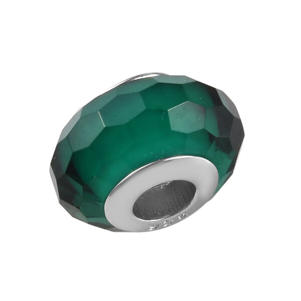 Charmes De Memoire Turquoise Green Murano Style Glass Bead Charm in Platinum Overlay Sterling Silver