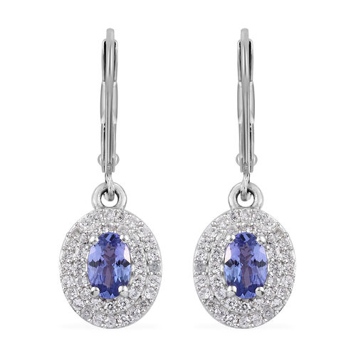 2.17 Ct Tanzanite and Cambodian Zircon Halo Drop Earrings in Sterling Silver With Lever Back