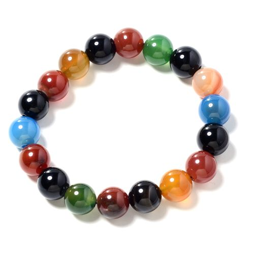 One Time Deal- Multi Agate (Rnd) Beads Bracelet (Size 7) 203.000 Ct