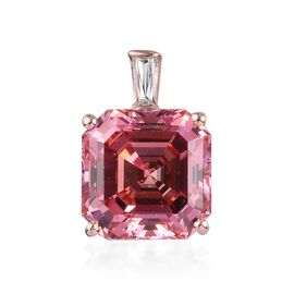 J Francis - Rose Gold Overlay Sterling Silver Asscher Cut Pendant Made with Pink and White SWAROVSKI