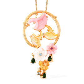Jardin Collection - Pink Mother of Pearl, Yellow Mother of Pearl and Multi Gemstone Floral Pendant w