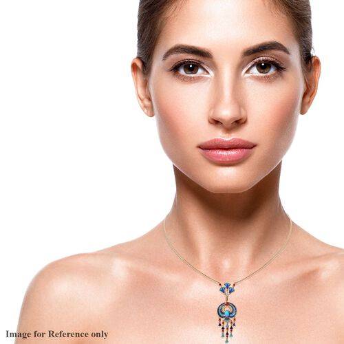 GP - AA Arizona Sleeping Beauty Turquoise and Blue Sapphire Enamelled Necklace (Size 18) in 14K Gold Overlay Sterling Silver 2.15 Ct, Silver wt 16.00 Gms