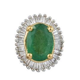 Kagem Zambian Emerald (Ovl), Diamond (0.250 Ct.) Pendant in Yellow Gold Overlay Sterling Silver 1.000  Ct.