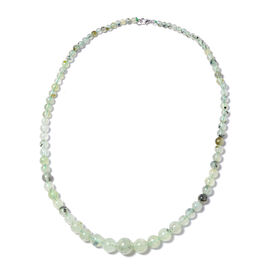 139.50 Ct Prehnite Beaded Necklace in Sterling Silver 18 Inch