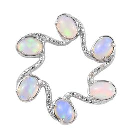 Ethiopian Welo Opal (Ovl) and Diamond Pendant in Platinum Overlay Sterling Silver 1.760 Ct.
