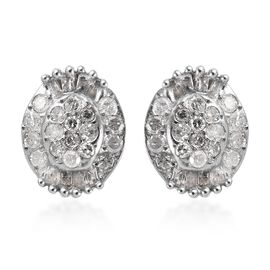 Diamond (Rnd and Bgt) Stud Earrings (with Push Back) in Platinum Overlay Sterling Silver 0.25 Ct.